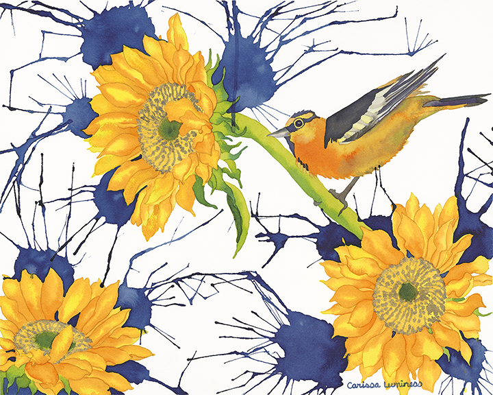 Oriole with Sunflowers