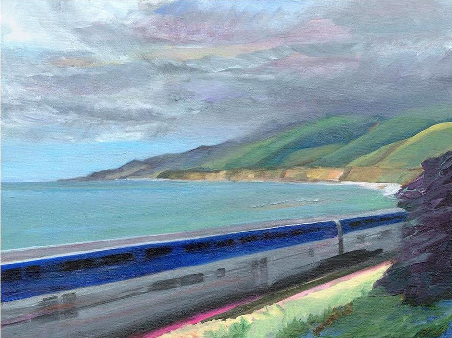 """""""Northbound Train, Southbound Storm"""" – 16"""" x 20""""  – Oil on canvas"""